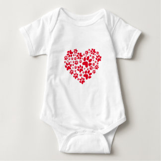 red heart with paws, animal foodprint pattern baby bodysuit