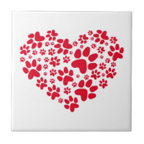 red heart with paws, animal foodprint pattern ceramic tile
