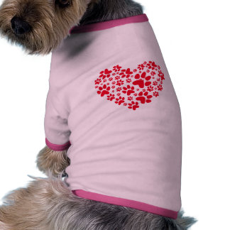 red heart with paws, animal foodprint pattern pet tee shirt