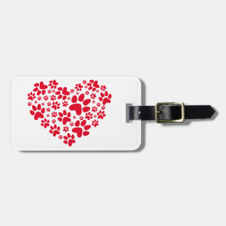 red heart with paws, animal foodprint pattern luggage tags