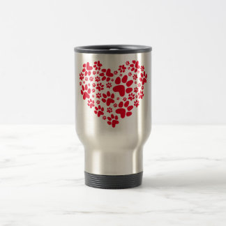 red heart with paws, animal foodprint pattern travel mug