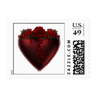 Red Heart with Roses Postage