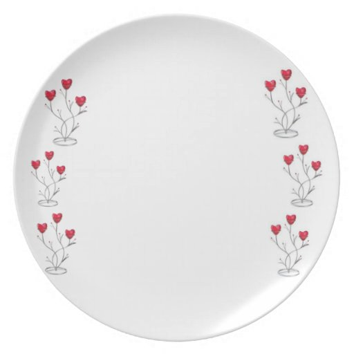 Red heart with rubies stand plate