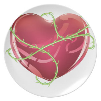 Red Heart with Thorns Dinner Plate
