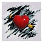 Red Heart with Watercolor Background Painting Poster