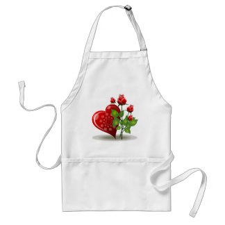 Red Heart with White Spirals Next to Red Roses Adult Apron