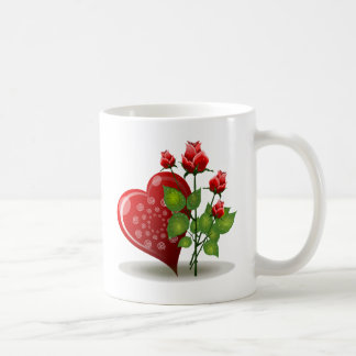 Red Heart with White Spirals Next to Red Roses Coffee Mug