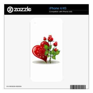 Red Heart with White Spirals Next to Red Roses iPhone 4S Skin