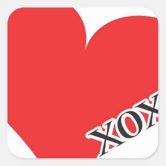 Red Heart XOXO Square Sticker