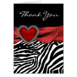 Red Heart Zebra Thank You Cards