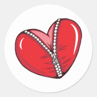 Red Heart Zipper Love Hearts Round Sticker