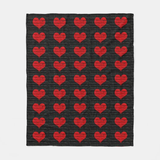 Red Hearted Black Brick Patterned Blanket Zazzle Amazing Patterned Blanket