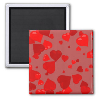 Red Hearts 2 Inch Square Magnet