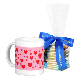 Red Hearts A-Scatter on Pink Mug