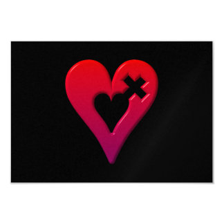 Red Hearts and Cross Card