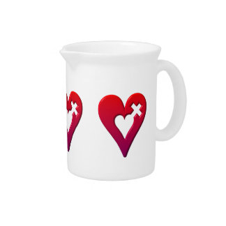 Red Hearts and Cross Drink Pitcher