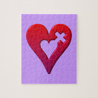 Red Hearts and Cross Jigsaw Puzzle