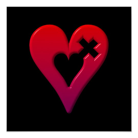 Red Hearts and Cross Poster