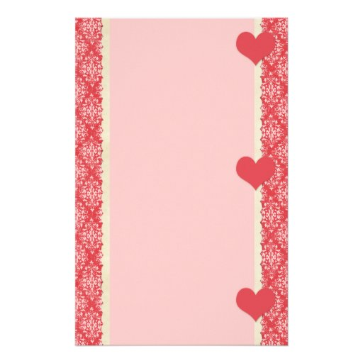 Red Hearts and Damask Frame Stationery