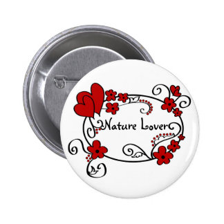 Red hearts and flowers - Button