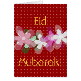 Red hearts and flowers Eid Mubarak Card