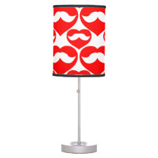 Red Hearts and Mustaches Table Lamp