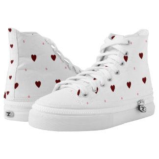 Red Hearts and Pink Polka Dots Hi Tops