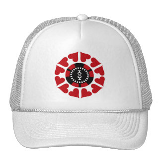 RED HEARTS AND POKER CHIP TRUCKER HAT