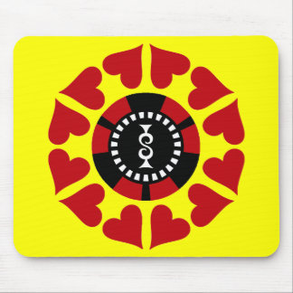 RED HEARTS AND POKER CHIP MOUSE PAD