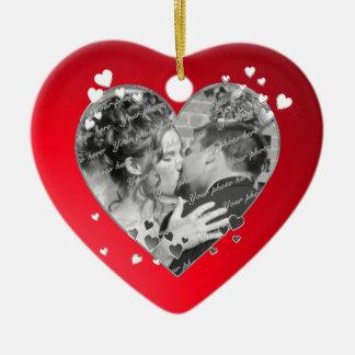 Red Hearts and Ribbon Photo Ceramic Ornament