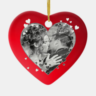 Red Hearts and Ribbon Photo Double-Sided Heart Ceramic Christmas Ornament