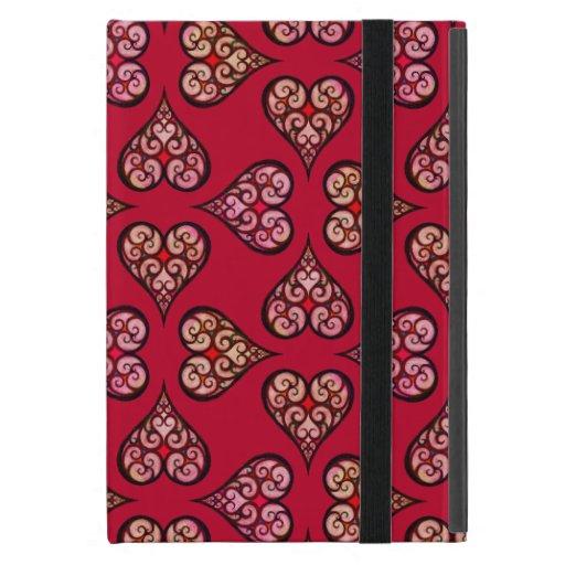 Red hearts art pattern Curly boho heart Bohemian Case For iPad Mini