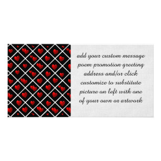 Red Hearts Black Diamonds Photo Greeting Card