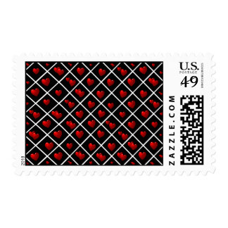 Red Hearts Black Diamonds Postage Stamps