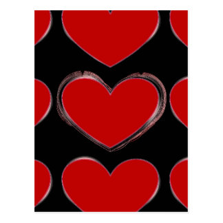 Red Hearts Black Pop Art Love Postcard