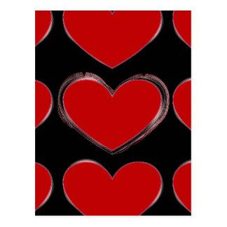 Red Hearts Black Pop Art Love Postcard