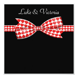 Red Hearts Bow On Black Wedding Card