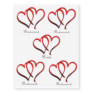 Red Hearts Bride and Bridesmaids Temporary Tattoo