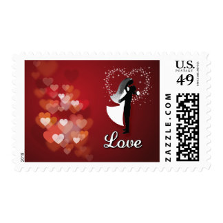 Red Hearts Bride And Groom Silhouette Postage