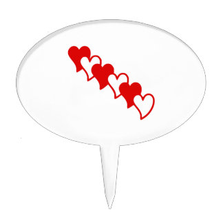 Red Hearts Cake Topper