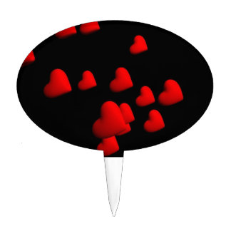 Red Hearts Cake Toppers