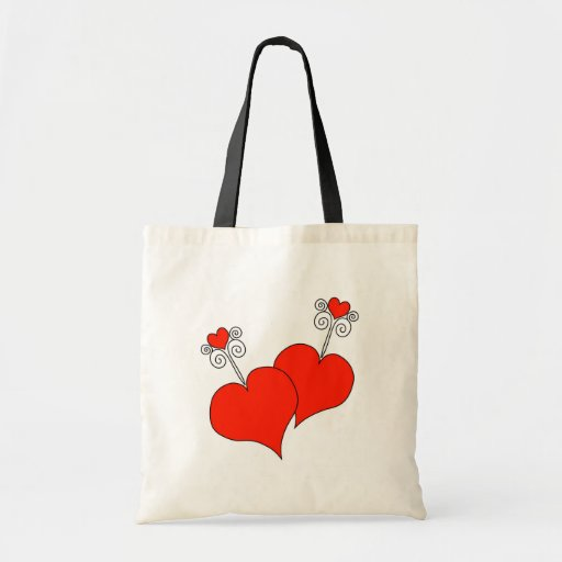 Red Hearts Canvas Bag