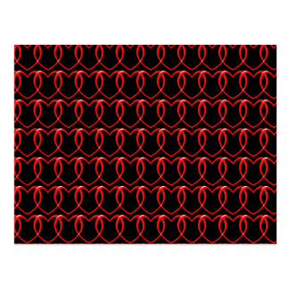 Red Hearts Chain Pattern Postcard