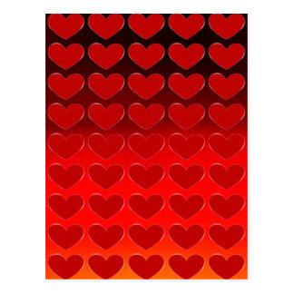 Red Hearts Charming Pop Art Love Postcard
