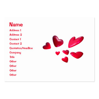 Red Hearts - Chubby Business Card Template