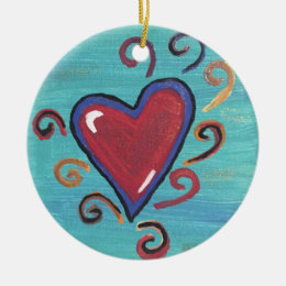 Red Hearts Collection Ceramic Ornament