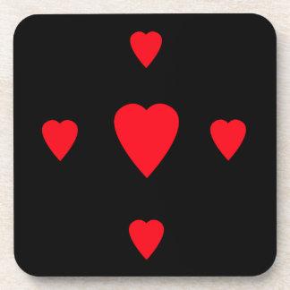 Red Hearts Cork Coaster