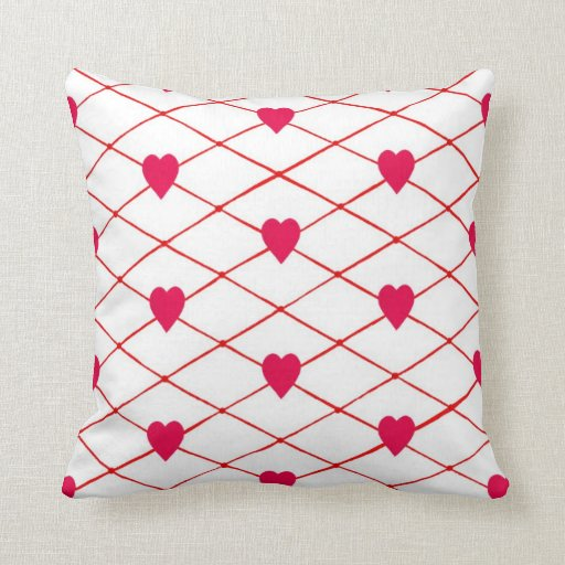 Red Hearts Criss Cross Quilt Pattern Pillows Zazzle