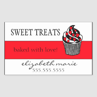 Red Hearts Cupcake Sticker
