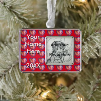 Red Hearts Custom Art Personalized Photo Ornament